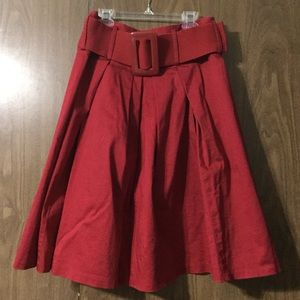 Dalia Collection red fit n flare skirt, size 2